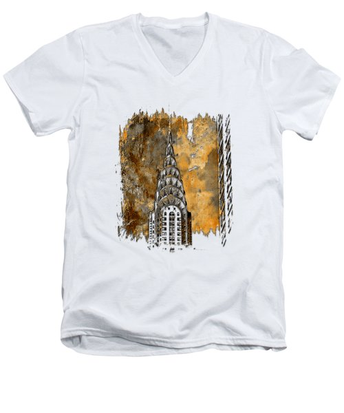 Chrysler Spire Earthy 3 Dimensional Men's V-Neck T-Shirt by Di Designs