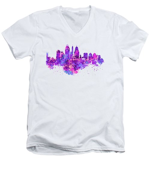 Cincinnati Skyline Men's V-Neck T-Shirt by Marian Voicu
