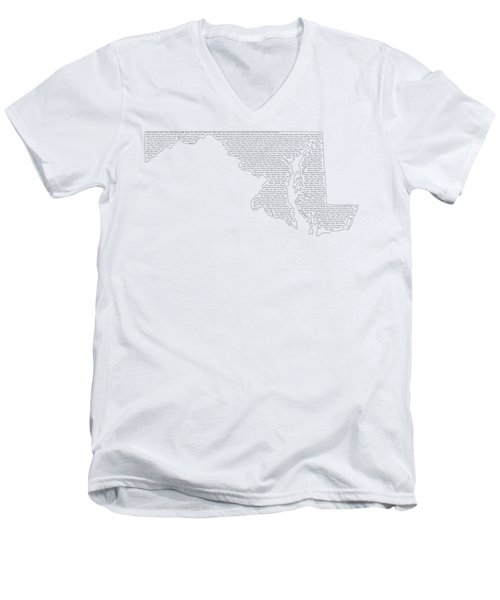 Cities And Towns In Maryland Black Men's V-Neck T-Shirt by Custom Home Fashions