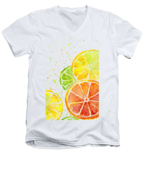 Citrus Fruit Watercolor Men's V-Neck T-Shirt by Olga Shvartsur