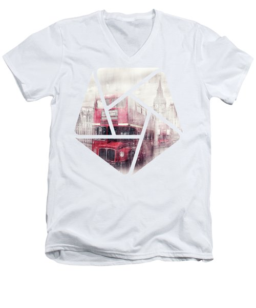 City-art London Westminster Collage II Men's V-Neck T-Shirt by Melanie Viola