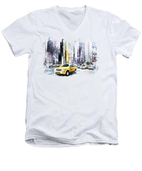 City-art Times Square II Men's V-Neck T-Shirt by Melanie Viola