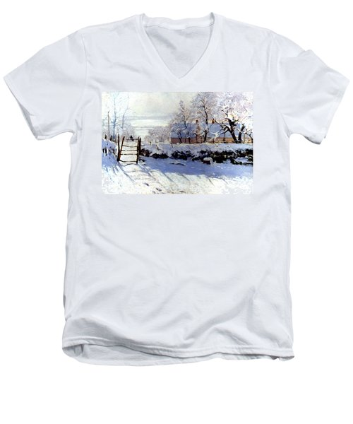 Claude Monet: The Magpie Men's V-Neck T-Shirt by Granger