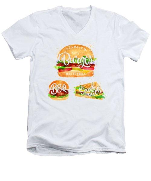 Color Burger Men's V-Neck T-Shirt by Aloke Design