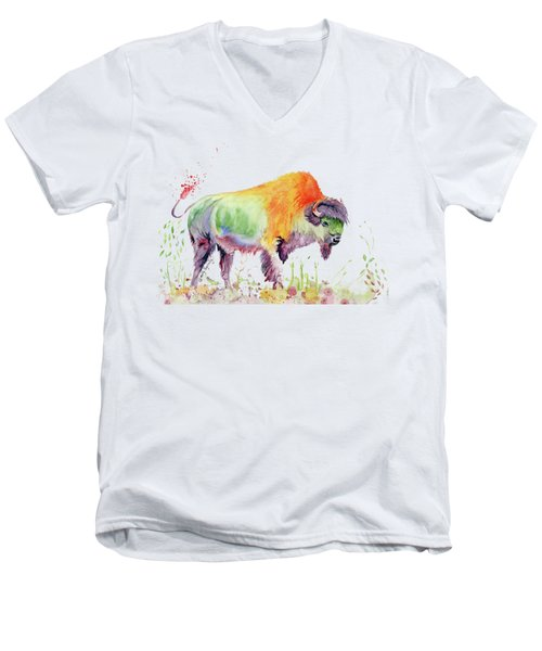 Colorful American Buffalo Men's V-Neck T-Shirt by Melly Terpening