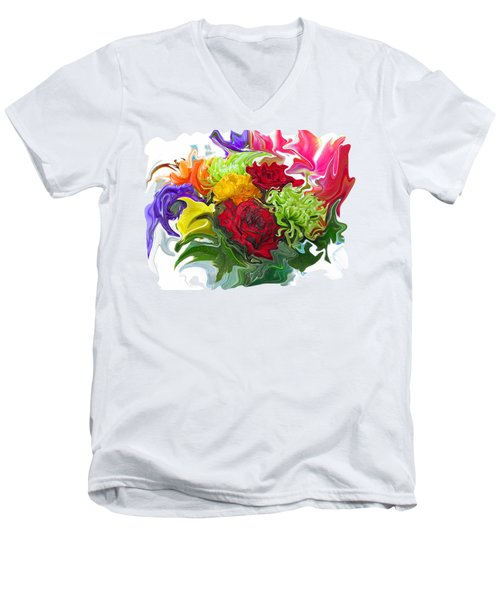 Colorful Bouquet Men's V-Neck T-Shirt by Kathy Moll