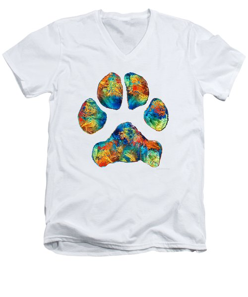 Colorful Dog Paw Print By Sharon Cummings Men's V-Neck T-Shirt by Sharon Cummings