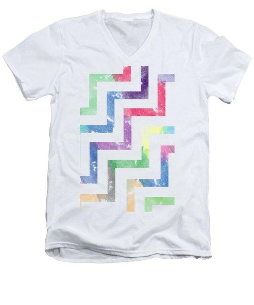 Colorful Geometric Patterns Vi Men's V-Neck T-Shirt by Amir Faysal