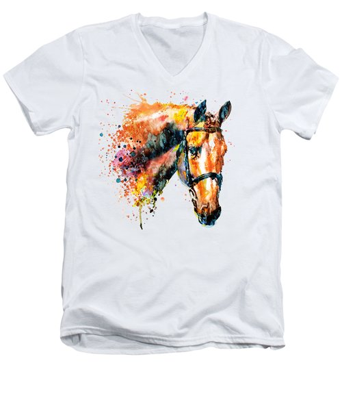 Colorful Horse Head Men's V-Neck T-Shirt by Marian Voicu