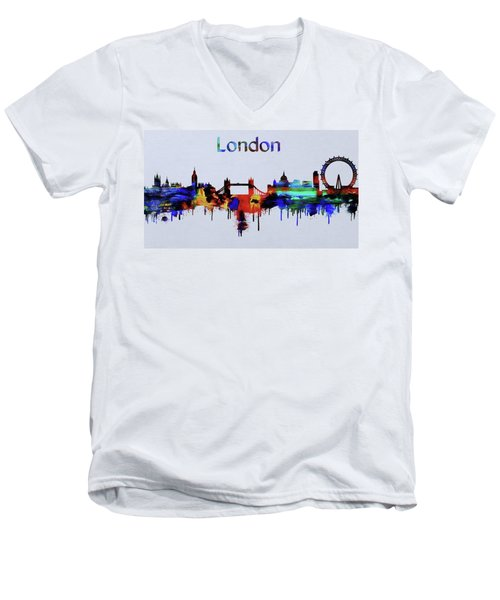 Colorful London Skyline Silhouette Men's V-Neck T-Shirt by Dan Sproul