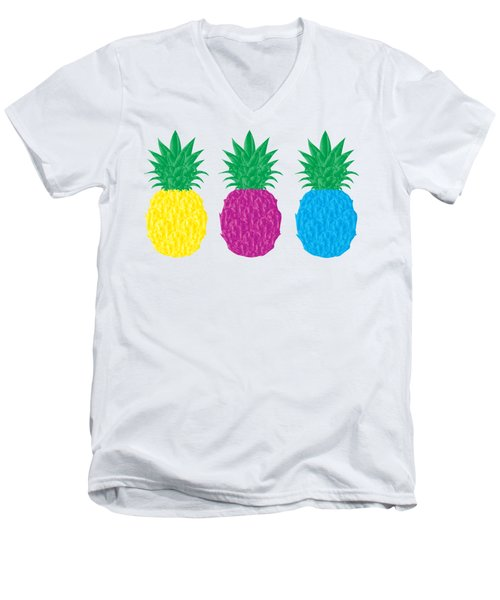 Colorful Pineapples Men's V-Neck T-Shirt by Leah Hawkins