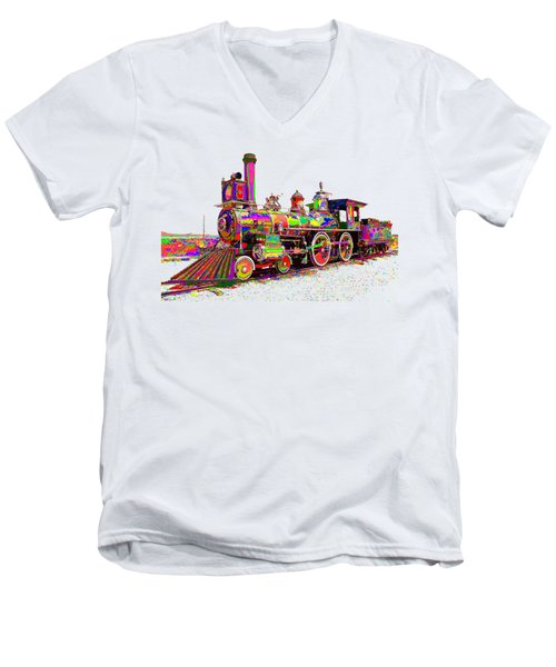 Colorful Steam Locomotive Men's V-Neck T-Shirt by Samuel Majcen