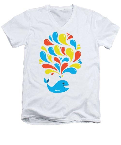 Colorful Swirls Happy Cartoon Whale Men's V-Neck T-Shirt by Boriana Giormova