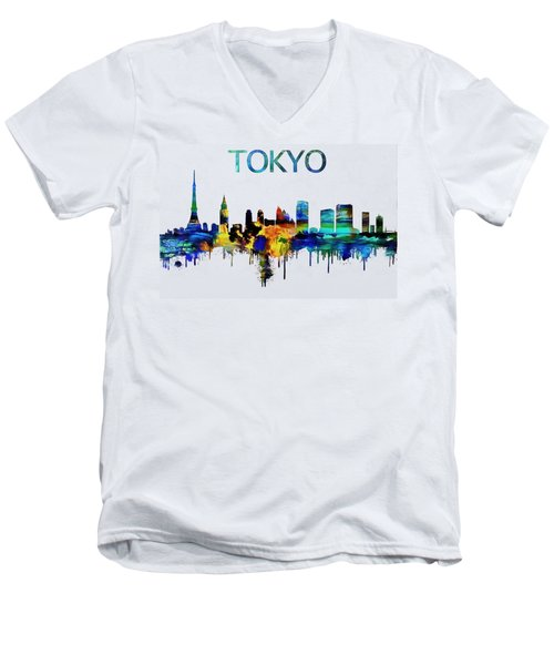 Colorful Tokyo Skyline Silhouette Men's V-Neck T-Shirt by Dan Sproul