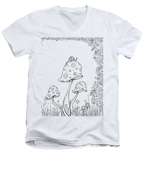 Coloring Page With Beautiful In The Garden 8 Drawing By Megan Duncanson Men's V-Neck T-Shirt by Megan Duncanson