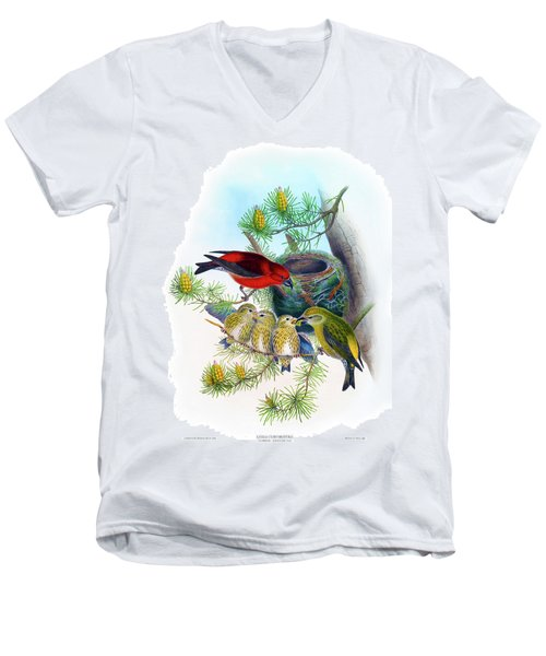 Common Crossbill Antique Bird Print John Gould Hc Richter Birds Of Great Britain  Men's V-Neck T-Shirt by Orchard Arts