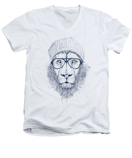 Cool Lion Men's V-Neck T-Shirt by Balazs Solti