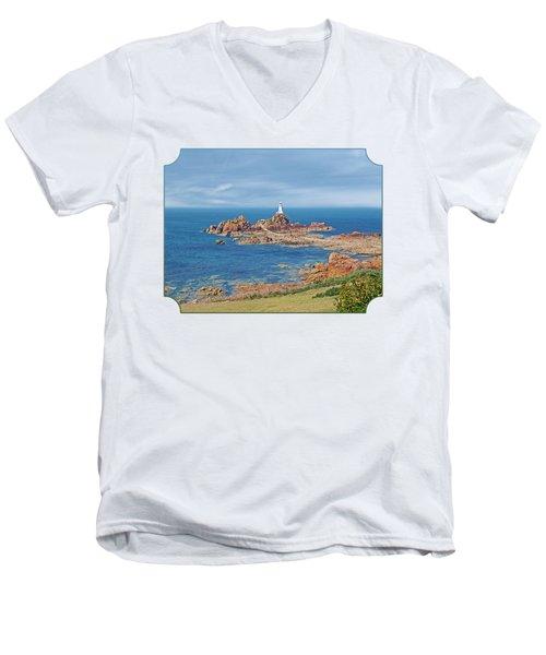 Corbiere Lighthouse Jersey Men's V-Neck T-Shirt by Gill Billington