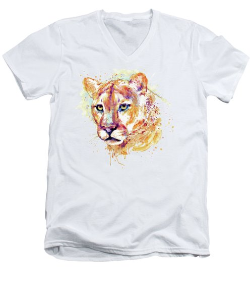Cougar Head Men's V-Neck T-Shirt by Marian Voicu