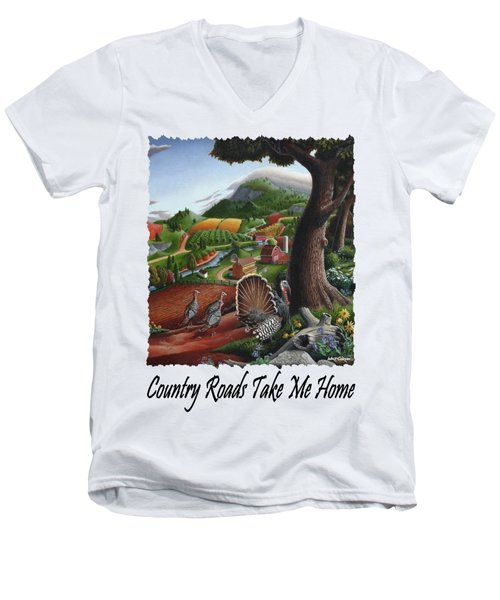 Country Roads Take Me Home - Turkeys In The Hills Country Landscape 2 Men's V-Neck T-Shirt by Walt Curlee