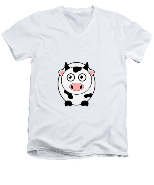 Cow - Animals - Art For Kids Men's V-Neck T-Shirt by Anastasiya Malakhova