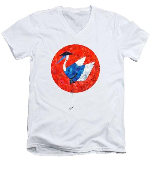 Crane Men's V-Neck T-Shirt by Daryna Skulska