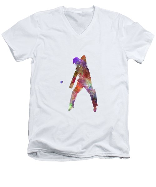 Cricket Player Batsman Silhouette 02 Men's V-Neck T-Shirt by Pablo Romero