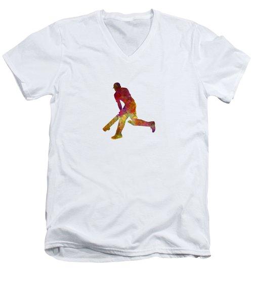 Cricket Player Batsman Silhouette 03 Men's V-Neck T-Shirt by Pablo Romero
