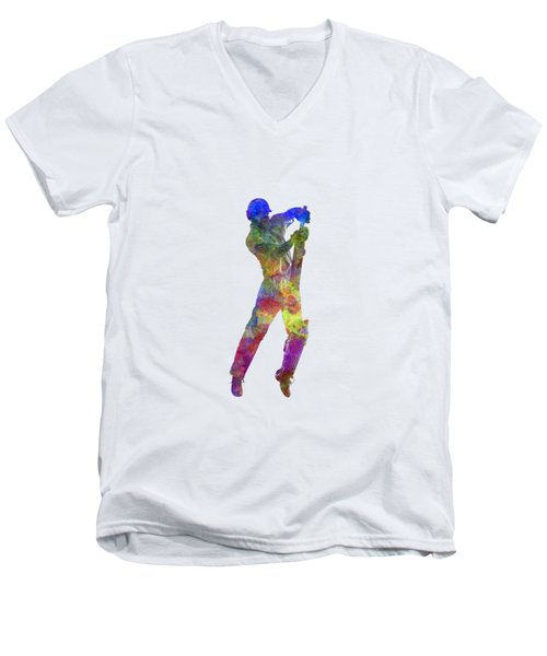 Cricket Player Batsman Silhouette 05 Men's V-Neck T-Shirt by Pablo Romero