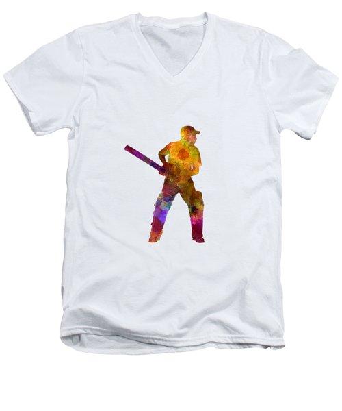 Cricket Player Batsman Silhouette 07 Men's V-Neck T-Shirt by Pablo Romero
