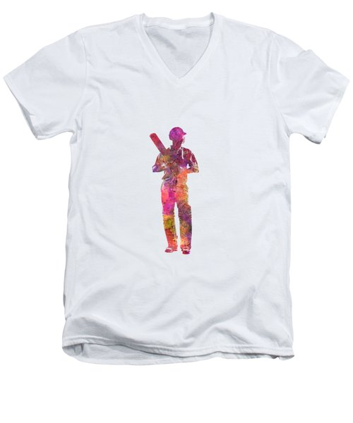 Cricket Player Batsman Silhouette 10 Men's V-Neck T-Shirt by Pablo Romero