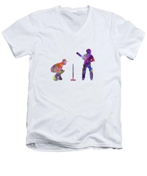 Cricket Player Silhouette Men's V-Neck T-Shirt by Pablo Romero