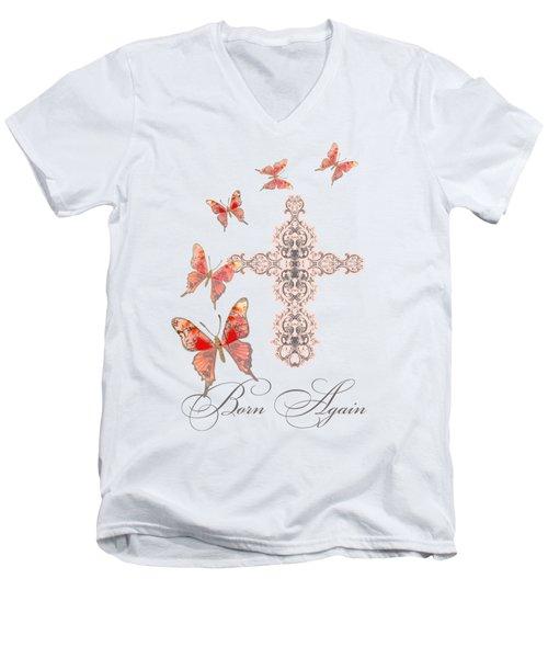 Cross Born Again Christian Inspirational Butterfly Butterflies Men's V-Neck T-Shirt by Audrey Jeanne Roberts
