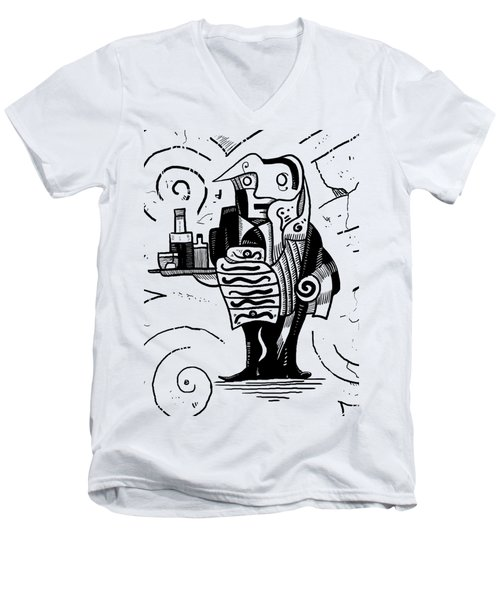 Cubist Waiter Men's V-Neck T-Shirt by Erki Schotter