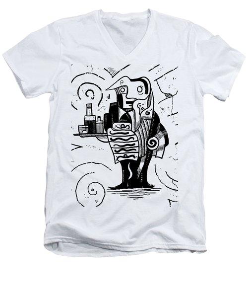 Cubist Waiter Men's V-Neck T-Shirt by Sotuland Art