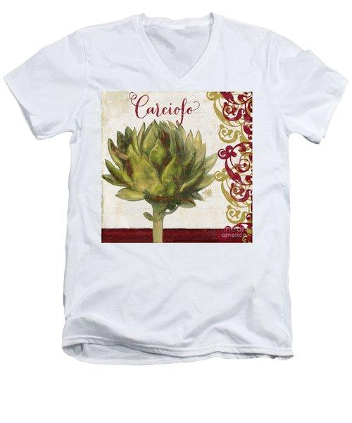 Cucina Italiana Artichoke Men's V-Neck T-Shirt by Mindy Sommers
