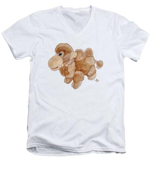 Cuddly Camel Men's V-Neck T-Shirt by Angeles M Pomata