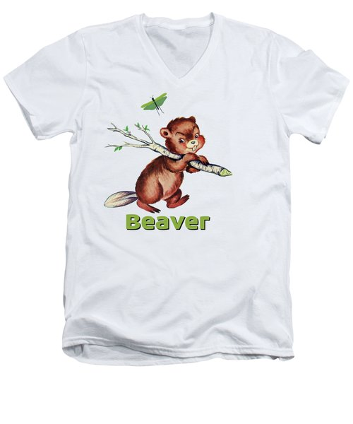 Cute Baby Beaver Pattern Men's V-Neck T-Shirt by Tina Lavoie