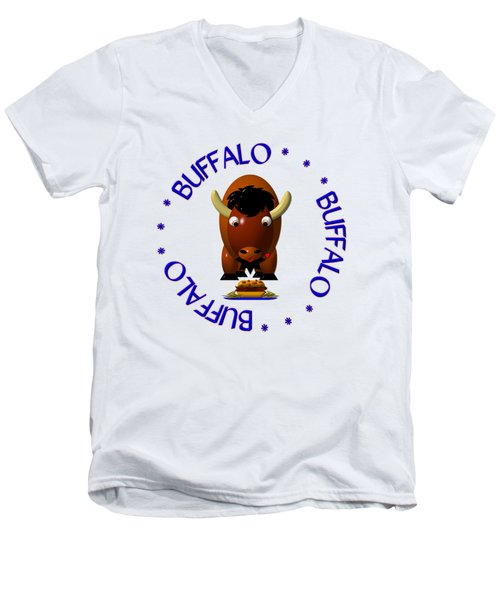 Cute Buffalo With Beef On Weck And Buffalo Wings Men's V-Neck T-Shirt by Rose Santuci-Sofranko