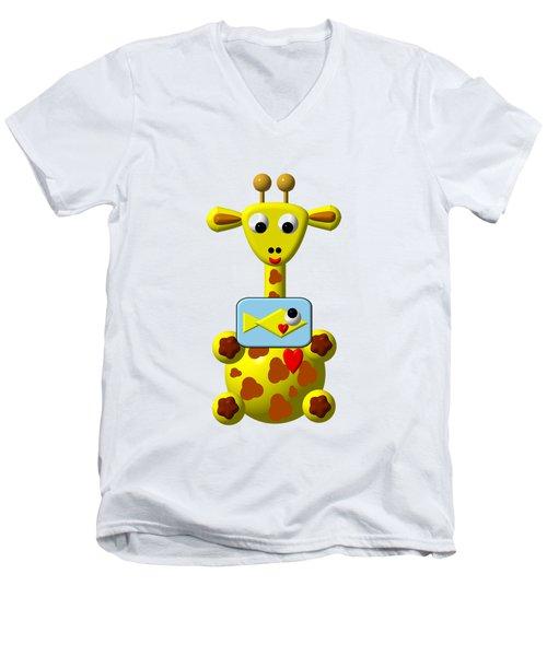 Cute Giraffe With Goldfish Men's V-Neck T-Shirt by Rose Santuci-Sofranko