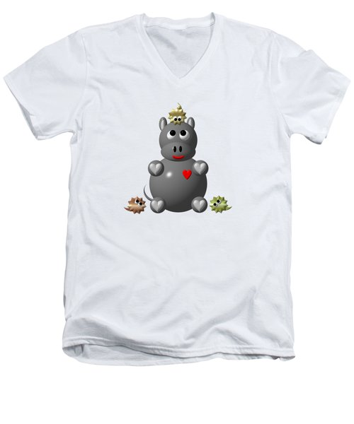Cute Hippo With Hamsters Men's V-Neck T-Shirt by Rose Santuci-Sofranko