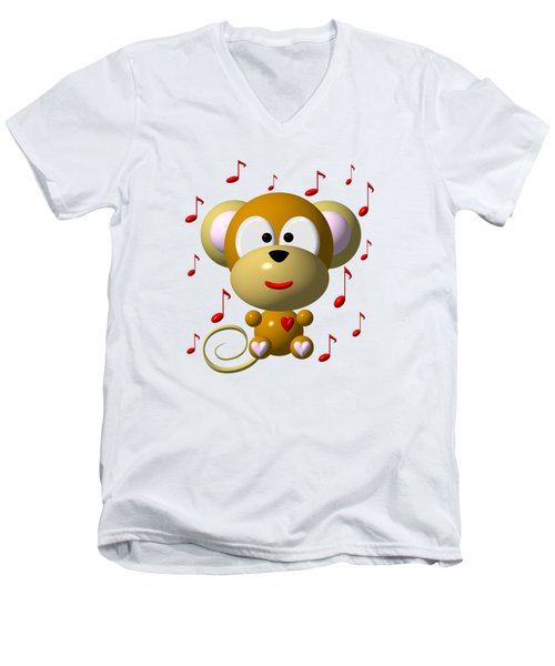 Cute Musical Monkey Men's V-Neck T-Shirt by Rose Santuci-Sofranko