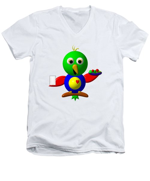Cute Parrot With Healthy Salad And Milk Men's V-Neck T-Shirt by Rose Santuci-Sofranko
