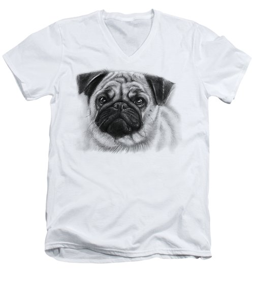 Cute Pug Men's V-Neck T-Shirt by Olga Shvartsur