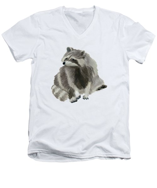 Cute Raccoon Men's V-Neck T-Shirt by Dominic White