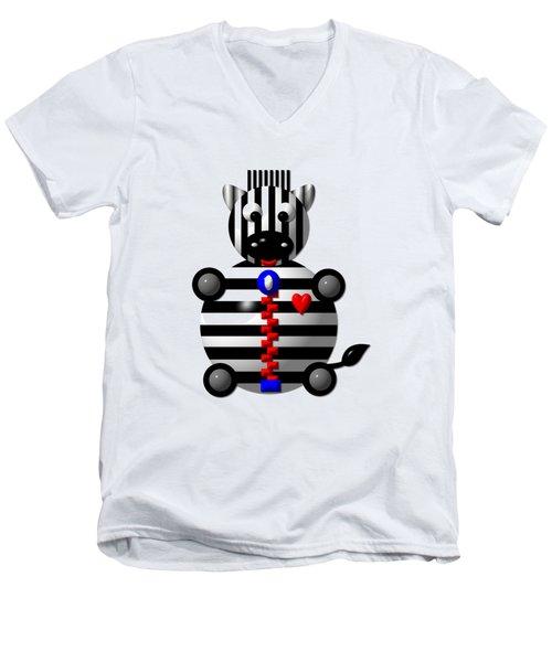Cute Zebra With A Zipper Men's V-Neck T-Shirt by Rose Santuci-Sofranko