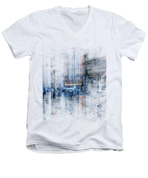 Cyber City Design Men's V-Neck T-Shirt by Martin Capek