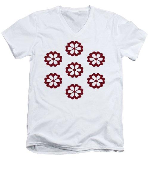 Cyber Flower Red Men's V-Neck T-Shirt by Daniel Hagerman