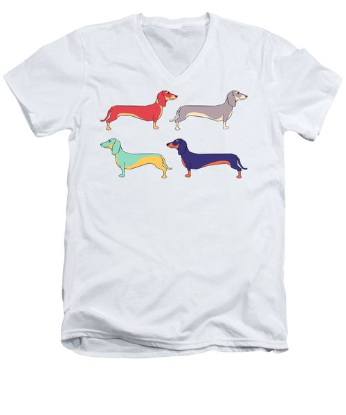 Dachshunds Men's V-Neck T-Shirt by Kelly Jade King