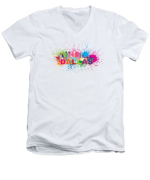 Dallas Skyline Paint Splatter Text Illustration Men's V-Neck T-Shirt by Jit Lim